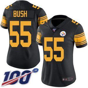 Women Steelers #55 Devin Bush 100th Season Jersey